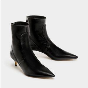Zara leather high heels boots
